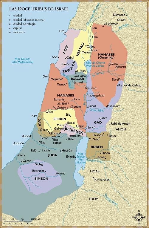 Doce Tribus Israel LBLA Mapas